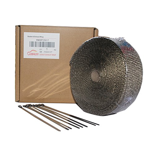 """LEDAUT 2"""" x 50' Titanium Exhaust Heat Wrap Roll for Motorcycle Fiberglass Heat Shield Tape with Stainless Ties 4"""