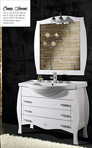 mobile da bagno con lavabo e specchio Noemi 85 Per Arredo Bagno Bianco classico composizione set