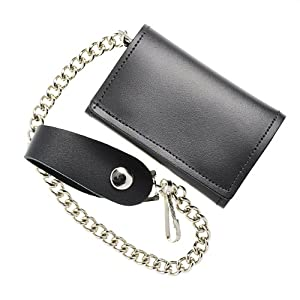 ALC Saddlebags 8191 Premium Leather Tri-Fold Biker Wallet with Chain