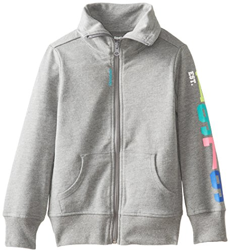 Reebok Little Girls' French Terry Shawl Collar Zipup Jacket, Grey Heather, Small front-923351