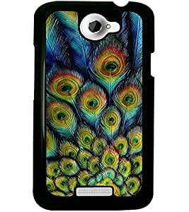 ColourCraft Peacock Feathers Design Back Case Cover for HTC ONE X