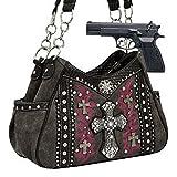 Brown Western Cross Rhinestone Concealed Carry Handbag