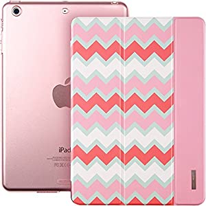 iPad Mini Case, iPad Mini 2 Case, ESR® iPad Mini Tri-fold Smart Case Cover with Magnetic Auto Sleep/ Wake Function for iPad Mini 1/2/3 (Pink Chevron) from Electronic Silk Road Corp