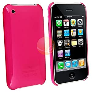 Premium Hard Crystal Plastic Skin Slim Fit Snap-on Case for Apple iPhone 3G, 3GS 3G-S - Clear Hot Pink