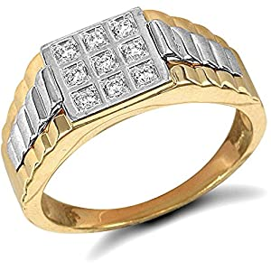 Jewelco London 9ct Solid Gold men's CZ set cluster Ring,Size Y