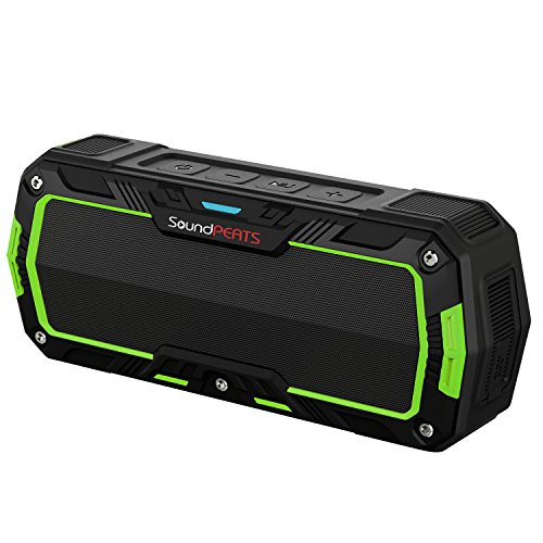 SoundPEATS[メーカー直販/1年保証付]ワイヤレススピーカー bluetooth スピーカー IP65等級 防水防塵仕様 耐衝撃 アウトドア ポータブルスピーカー マイク搭載通話可能 8時間連続再生 P3 ブラック×グリーン