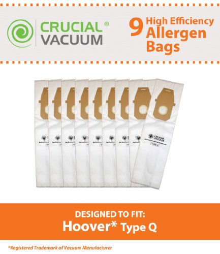 9 Hoover Platinum Type Q High Efficiency Allergy Filtration Vacuum Bags; Compare to Hoover Platinum Part # AH10000, UH30010COM; Designed & Engineered by Crucial Vacuum (Vacuum Q Bags compare prices)