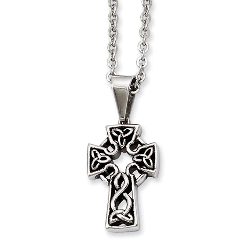 Black Bow Jewellery Company: Halskette mit Schmuckanhänger Edelstahl keltisches Kreuz - 45,72 cm