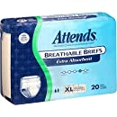 Attends Incontinence Care Breathable Briefs for Adults, Extra Absorbent, 20 Count (Pack of 3)