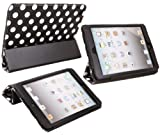 ITALKonline PADWEAR ADVANCED Executive BLACK WHITE POLKA DOTS Wallet Case Cover Stand With TRI-FOLD SMART TILT and Magnetic Sleep Wake Sensor Feature For Apple iPad Mini Tablet (Wi-Fi and Wi-Fi + 3G + 4G) 16GB 32GB 64GB