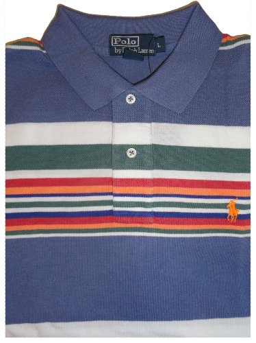 Men's Polo By Ralph Lauren Short Sleeve Polo Shirt Blue Multi Striped (XXL)