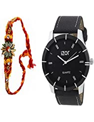Gift For Boys, Men, Bro, Brother, Rakhi Gift, Black Dial Analogue Casual Wear Watch With Free Rakhi (Rakhi Designs... - B01K7N7Z7U