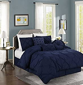 Chezmoi Collection Sydney 7-piece Pintuck Bedding Comforter Set (King, Navy)