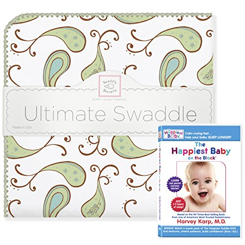 SwaddleDesigns Ultimate Swaddle Blanket Plus The Happiest Baby DVD Bundle, Triplets Paisley, Kiwi