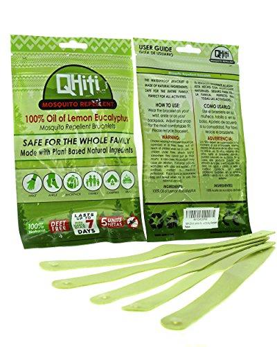Oil of Lemon Eucalyptus 5-Pack Qhiti Mosquito Repellent Bracelets - All Natural Ingredients