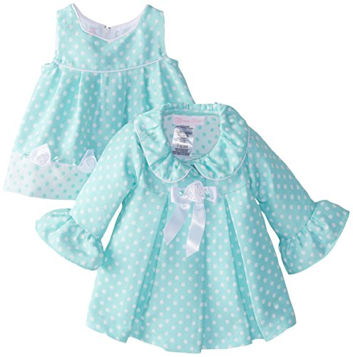 Bonnie Baby Baby-Girls Newborn Aqua Dot Coat and Dress Set