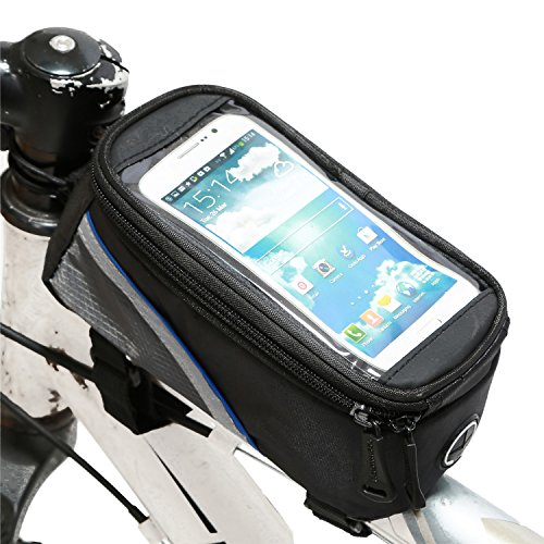 """Weanas® Cycling Bike Bicycle Handlebar Frame Pannier Front Top Tube Bag Pack Rack X Large Waterproof for Iphone 6 6 Plus Samsung 4.8 5.5 Inch Mobile Cell Phone (Blue Black, For 5.5"""" Mobile Phone)"""