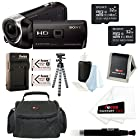 Sony HDR-PJ275/B HDRPJ275 PJ275 8GB Full HD 60p Camcorder w/ built-in Projector + (2) Sony MicroSD 32GB + 2 Replacement NP-BN1 Battery & Charger + Focus Deluxe SLR Soft Shell Case + Accessory Kit