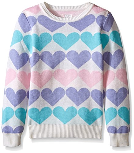 The Children's Place Big Girls' Heart Sweater, Cloud, Small/5-6