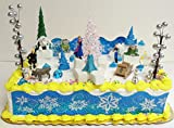 Elsa and Anna Frozen 23 Piece Birthday Cake Topper Set Contrasting Spring Arendelle with Frozen Arendelle - Set Includes All Accessories Shown - Ice Cyrstals, Snow Flake, Trees, Rocks, and Backdrop along with Cake Topper Figures of Anna, Elsa, Hans, Kristoff, Sven & Olaf