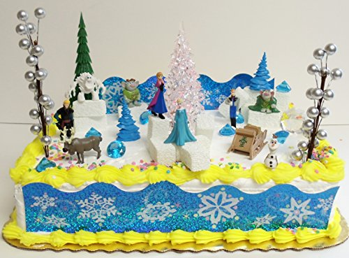 Best Prices! Elsa and Anna Frozen 23 Piece Birthday Cake Topper Set Contrasting Spring Arendelle wit...