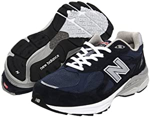 New Balance - Mens 990v3 Stability Running Shoes, Size: 8.5 4E US, Color: Navy with Grey & White