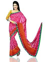 Unnati Silks Women Kota Silk Printed Pink Saree - B00K851AZQ