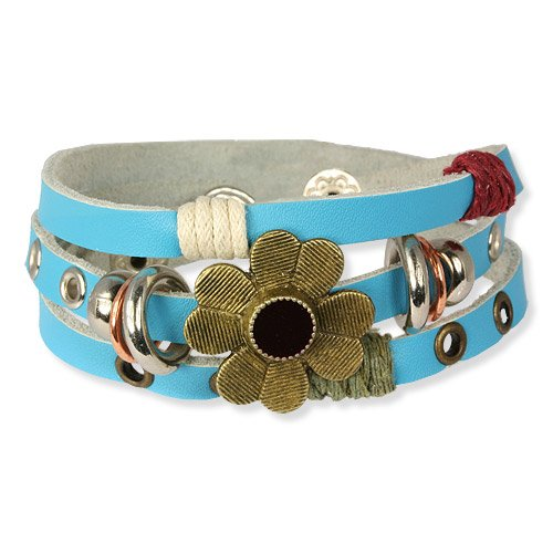 SilberDream Leather Bracelet turquoise with Rivets and flowers - fits all sizes - Women Leather Bracelets genuine Leather LA2913T