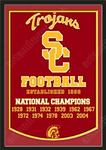 Dynasty Banner Of Southern California Trojans With Team Color Double Matting-Framed... by Art and More, Davenport, IA