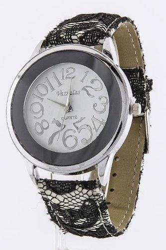 Karmas Canvas Lace Strap Watch (Black/White)