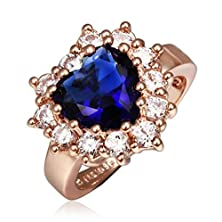 buy Amdxd Jewelry Gold Plated Women Rings Rose Gold Heart Shape Blue Cz Size 8