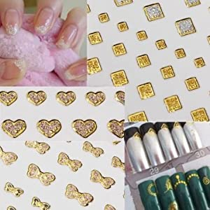 15 Style Glitter Golden Water Nail Art Transfer Sticker Nail Art Tips