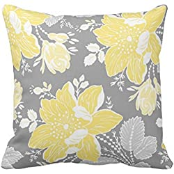 "Cukudy® Decorative Pillow Cover Cotton Canvas Pillowcases Yellow Gray White Floral 18"" x 18"""