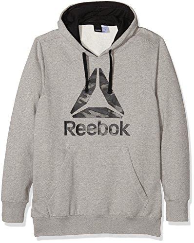 Reebok-Felpa con cappuccio, con Logo, da uomo, taglia L, colore: grigio