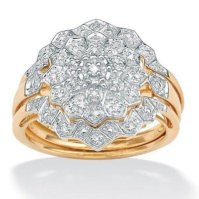 Three-Piece Diamond Wedding Set Material: Gold, Size: 7