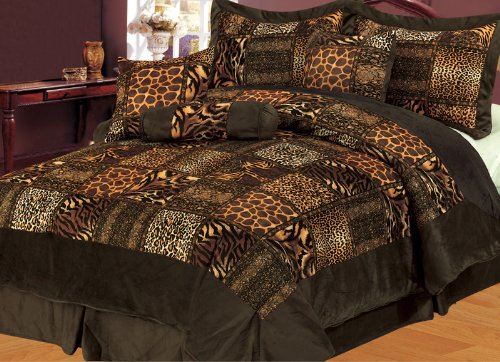 7 Piece Cal King Safari Brown Patchwork Micro Suede Comforter Set front-66346