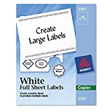 """Avery 5353 - Copier Full Sheet Labels, 8-1/2 x 11"""", White - 100 Labels"""