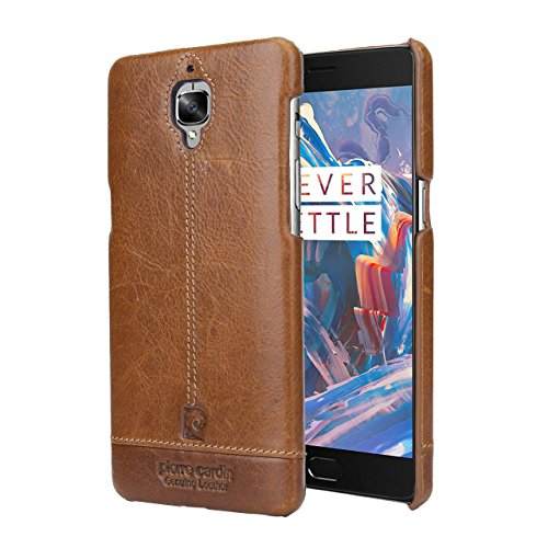 07. OnePlus 3 Case Case,Pierre Cardin Premium Genuine Leather Slim Hard Case Cover for OnePlus 3 (Brown)