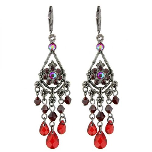 Vintage Red Chandelier Earrings