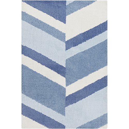 2' x 3' Radiant Rays White and Shades of Blue Super Soft Throw Rug