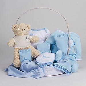 Canastilla regalo bebé Clásica con Oso Teddy BebeDeParis-Azul- cesta regalo recién nacido - BebeHogar.com