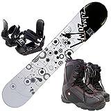 3点セットスノーボード☆ZUMA WAVE-9 金具付き ブーツ付き (ホワイト153cm, ブーツ26.0cm)