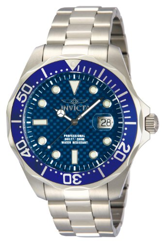 Invicta Men's Pro Diver Stainless Steel Blue Carbon Fiber Dial Watch (Carbon Fiber Dial Watch compare prices)