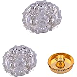 """GS MUSEUM Silver Plated Rani Kumkum Plate 2 Sets And Gold Plated 4"""" Pooja Plate Set"""