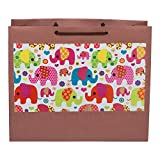 "Medium Paper Bags Orange Elephant Print Size 10""x12""x4"" Pack-05"