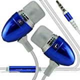 Samsung Galaxy Ace 4 LTE, Samasung Galaxy Ace 3, Samsung Galaxy 4, Samsung Galaxy 5 Portable Coloured Aluminium Hands Free Headphones Earphone Headset with Microphone Mic (Dark Blue) ExclusiveTo Elite Acessories