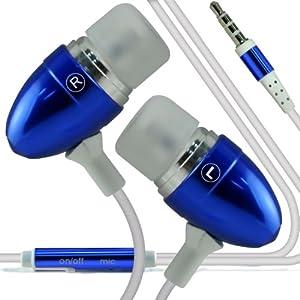 Sony Xperia M2 Custome fatto Qualità Alluminio In Auricolare stereo Hands libero cuffia cuffia auricolare con il microfono incorporato Mic & tasto ONOFF (blu scuro)   Valutazioni Valutazione