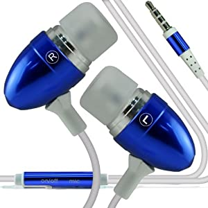 (Dark Blue) Samsung Galaxy S5 mini Custome made Quality Aluminium In Ear Earbud Stereo Hands Free Headphones Earphone Headset with Built in Microphone Mic & On-Off Button