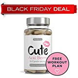 Acai Berry Slimming Capsules - BLACK FRIDAY DEAL - Weight Loss Supplement Tablets Containing Natural Antioxidants, Amino Acids, Fibre, Iron and Vitamins To Boost The Immune System Plus Bonus 4 Week Fat Buster Workout Plan from Cute Nutrition