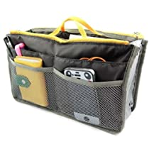ZCARGEL New Women Travel Insert Handbag Organiser Purse Large liner Organizer Tidy Bag (Grey)